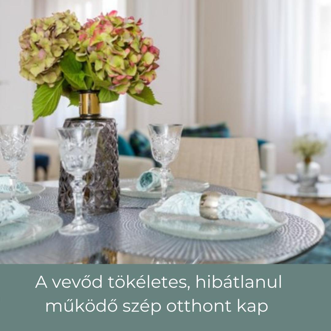 home satging dekoráció étkező asztalon